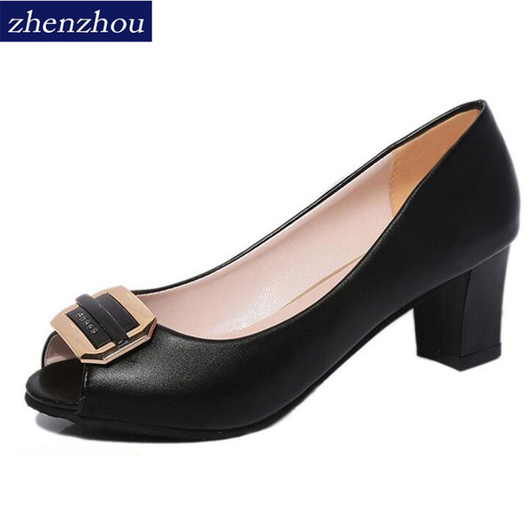 Dress Shoes Pumps The new spring and summer Fish-mouth sandals for women Metal single shoe women's Shallow-mouth heel