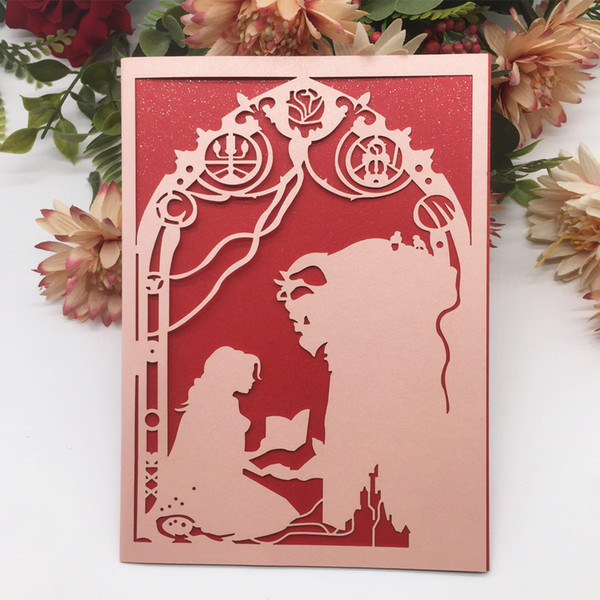 Birthday Wedding Invitation Card European Style Decorations With Invitations Beauty And Beast Theme Hollow Laser Cut Create Your Own Wedding
