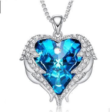 El corazón del océano collar coreano de lujo azul rojo cristal forma de corazón con amantes encantos collares pendientes para las mujeres joyería titánica 557