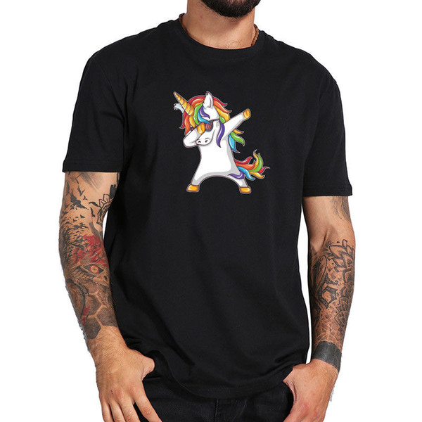 Dabbing Unicorn Rainbow Color Anime Tshirt Men Cool DAB Pose Tees Cotton Cartoon t shirt men Unisex New