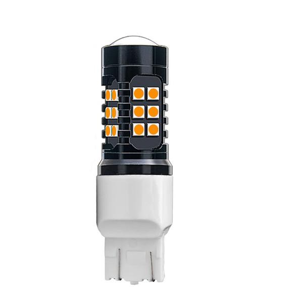 1 ADET T20 7443 W21 / 5 W 1200LM 27 SMD 3030 LED Araba Sarı Amber Sinyalleri Çevirin 21/5 W Kırmızı Fren Işık Beyaz Park Ampul Oto Sis Lambası