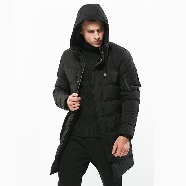Grosso e Quente de Inverno Mens Parka Trench Coats Casaco Com Capuz Mens Para Baixo Casacos Longo Emblema Remendo Designs XXXXL Estilo Do Exército Blusão