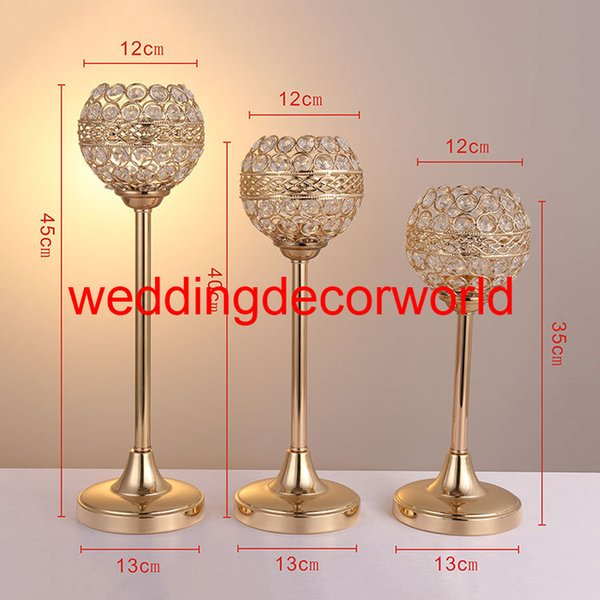 New styleGold Flower Vases Candle Holders Stand Wedding Decor Road Lead Table Centerpiece Rack Pillar Party Candlestick Candelabra decor0838