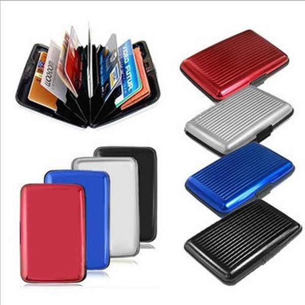 Pocket ID Credit Cards Wallet Holder Case Box Aluminum Metal Waterproof Business Credit Card ID Package Bank Case Card Holders VT0203