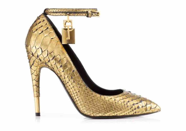Free Shipping 2015 Ladies patent leather 11CM high heel Tom snake Dress Shoes Metal Lock key Pointed Toe size 35-42