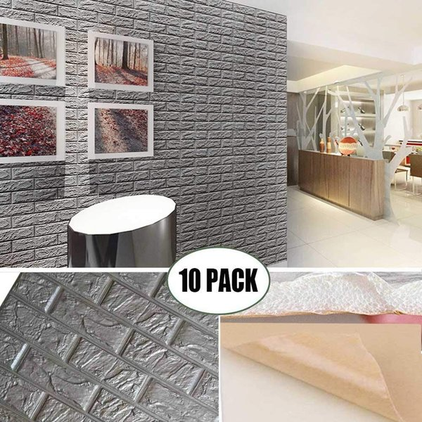 top popular 3D Foam Wall Panels Grey Color Peel and Stick Brick Wallpaper Self-Adhesive Removable for TV Walls, Background Wall Decor 2021