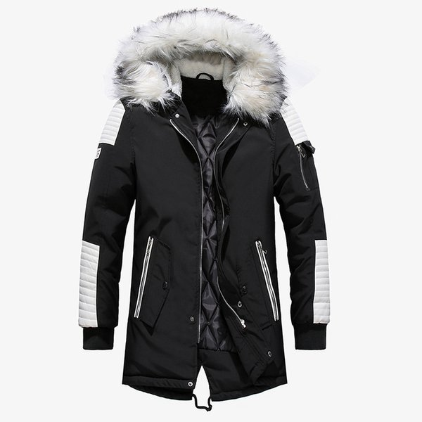Winter Jacket Men 2019 Fur Collar Hooded Oversized Black Long Parka Coats Pu Thicken Windproof Warm Jackets Outerwear