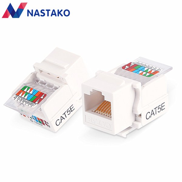 NASTAKO 4/20/50PCS Cat5 RJ45 Cat5e UTP Keystone Female Jack Connector Adapter for Wall Plate Wisted RJ45 Network Ethernet Cable