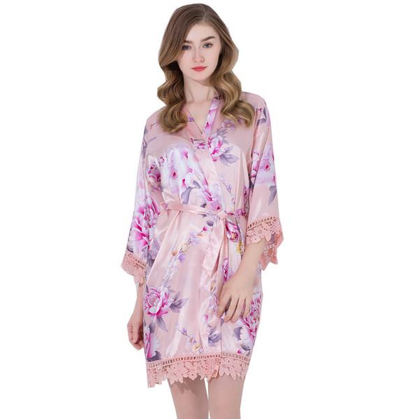 YUXINBRIDAL 2019 New Lace Robe Dressing Gown Wedding Robe Bathrobe Women Skirt Bridesmaids Bride White Navy