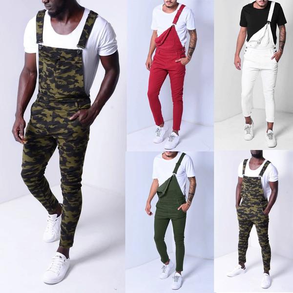 Men/'s Camouflage Overalls Straight Leg Pants Suspender Trousers Jeans Harem USA