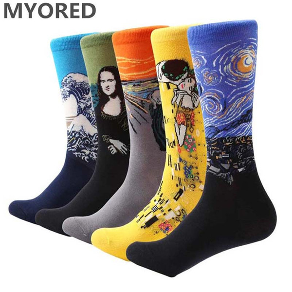 MYORED 5 Paar / Los Herren Malerei Socken Baumwolle Retro Ölgemälde Socken Crew lustige Socke lässig bunte Hochzeit Geschenk