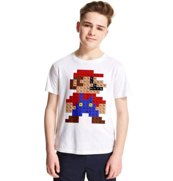 Футболки Super Mario Детские летние футболки Fashion Street T Shirt Модальная футболка с принтом хипстеров с короткими рукавами Периодические столешницы GGA1902