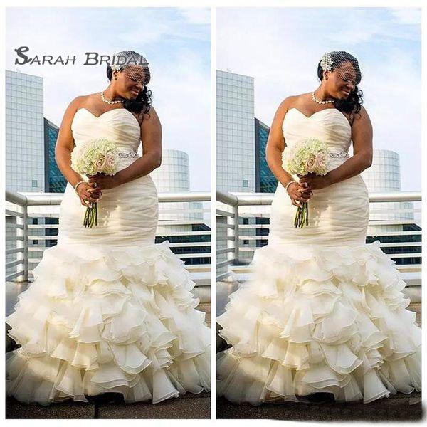 top popular 2019 Elegant Arabic Dubai Mermaid Wedding Dresses Sexy Sleeveless Tiered Chiffon Evening Wear Formal Gowns High-end Wedding Boutiques 2020