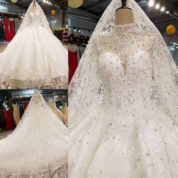 Real Picture Arabic Kaftan Wedding Dress Illusion Long Sleeve High Neck Beaded Corset Ball Gown Berta Bridal Dresses Robe De Mariage Dubai