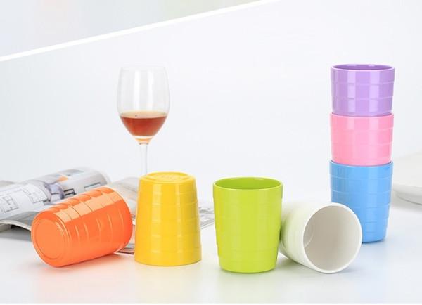 Alto grado A5 melamina multicolor taza imitación porcelana restaurante agua taza antideslizante grano cruzado taza recta W9073