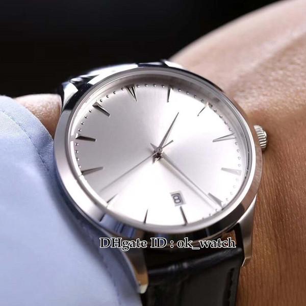 NUEVO 41mm Master Ultra Thin Date 1288420 Q1288420 Japón Miyota 8215 Reloj automático para hombres Acero 316L Esfera plateada Correa de cuero Los mejores relojes