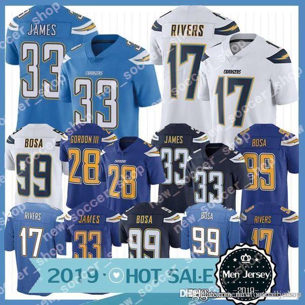 2019 Chargers Jersey Los Angeles Mens 28 Melvin Gordon 99 Joey Bosa 17 Philip Rivers 33 Derwin James heißen Verkaufs-Fußballjerseys