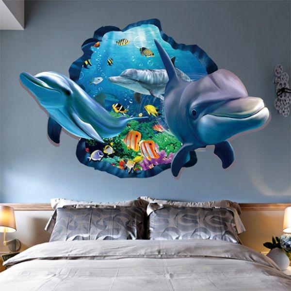 Wall Stickers Cartoon Dolphin 3D Wall Sticker PVC Bedroom Bedroom Wall Sticker Waterproof Removable Mural Kids Rooms Decor