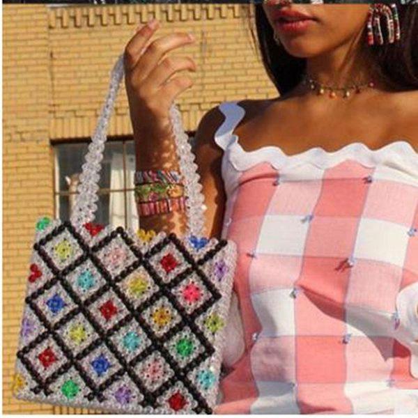 Pearls Bag Beaded Vintage Acrylic Box Totes Women Evening Party Small Flap Handbag Nice Summer Luxury Brand