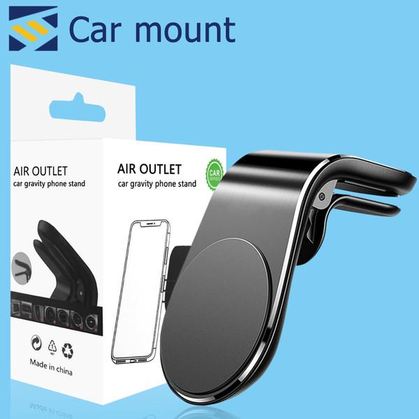 Magnetic Car Holder Telefone suporte de montagem para iPhone Samsung Xiaomi Huawei L-Type Car Air Vent móvel para telefone com o pacote de varejo