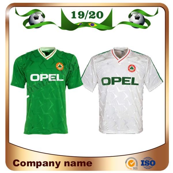 1990 Irland Retro Fußball Trikot 1990 Weltmeisterschaft Irland Heim Grün Fußball Trikot Nationalmannschaft Kundenspezifische weg weiße Fußballuniformen Verkäufe