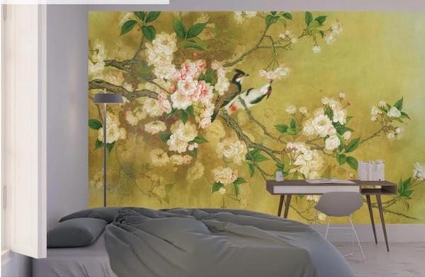 3d duvar kağıdı duvar kağıdı Titiz çiçekler ve kuşlar, el-boyalı Çin resim, duvar dekorasyon boyama
