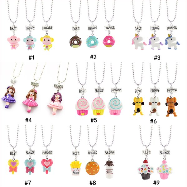 Kid Cartoon Best friends forever Necklace Monkey Donuts Princess dog food Ice cream Resin Pendant Bead chain For Children friendship Jewelry