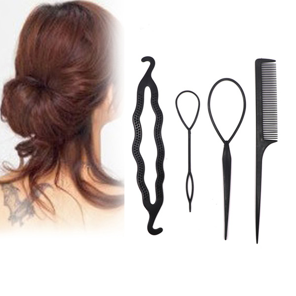 4pcs/set Plastic Twist Styling Hair Clip Comb Bun Maker Hairdressing Tools Braiding Hair Accessories for Women DIY Styling