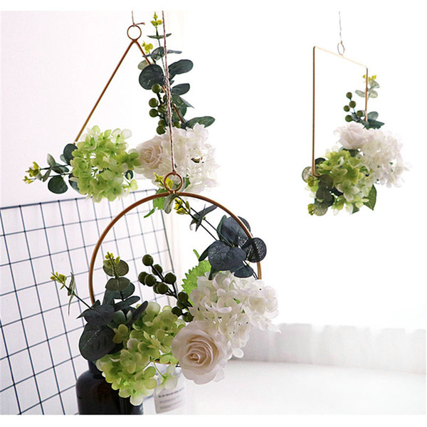 White Floral Hoop Wreath, 11inch Artificial Rose Flower Berries Eucalyptus Vine Wreath Garland Hanging Pendant Wedding Backdrop Wall Decor