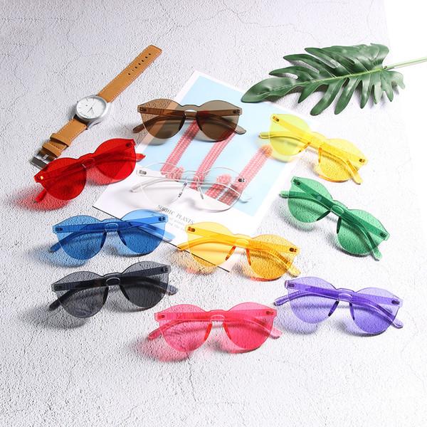 1PCS Summer Retro Candy Color Transparent Clear Trendy Sunglasses Women Travel Accessories Men Frameless Eyewear Sunglasses