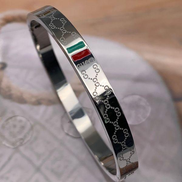 Famosa marca de luxo 3 cores 316L aço inoxidável 19 cm red green letter pulseiras pulseiras homens mulheres ouro 18k prata rosa verão jóias