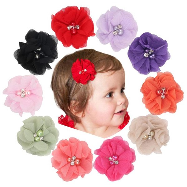 10PCS//Lot Lace Flower with Rhinestone Pearls Headband Hair Band Bow for Baby