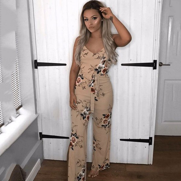 f1f58b30003 Fashion Women Clubwear Summer Jumpsuit 2018 Ladies Playsuit Bodycon Party  V-neck Jumpsuit Floral Printed