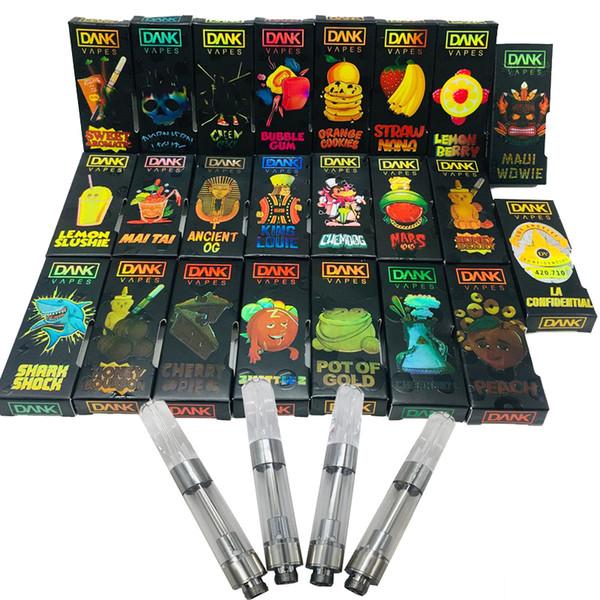 M6T Dank Vapes Carrinhos Holographic Box Packaging Design 3D vazio Vaporizadores Pen cartuchos de 0,8 / 1,0 ml Cerâmica sabor do cigarro atomizador E