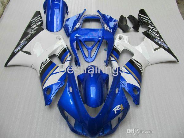 ZXMOTOR Free custom fairing kit for YAMAHA R1 1998 1999 white blue black fairings YZF R1 98 99 BC24
