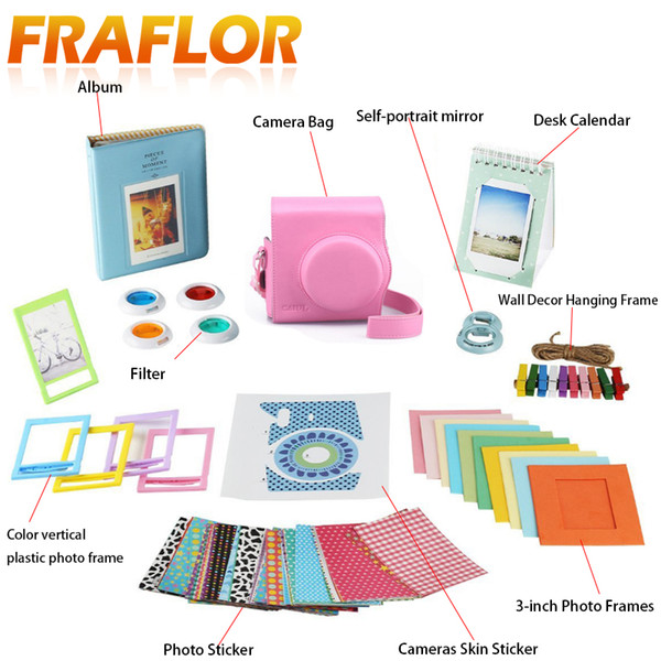 Accessory Set For Instax Mini 8/8+/ 7s/9 Instant Camera Bag Photo Paper Films 4 Colors Filter + Stickers + Photo Frame