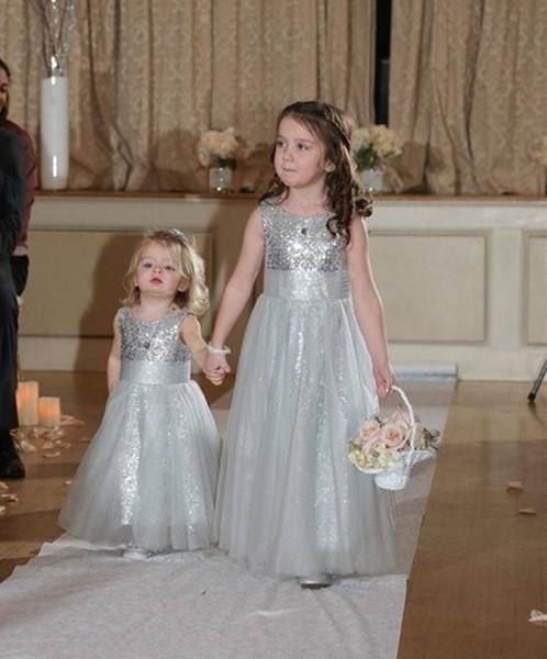 5c19e9b8b3df Formal Silver Sequin Lace Tulle Custom Cute Little Flower Girl Dress Floor  Length Hand Made Flowers