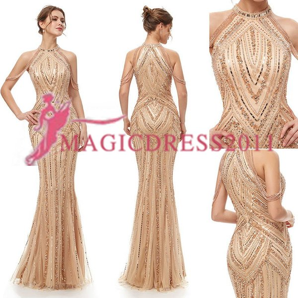 top popular 2019 In Stock Luxury Beaded Off The Shoulder Evening Dress Special Lady Women's Mermaid Party Fashion robe de soiree Elie Saab Prom Dress 2019