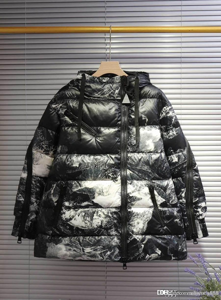 Monclers designers couples down jacket classic brand coat Ink painting hooded fashion coats men women European selling version winter jacket