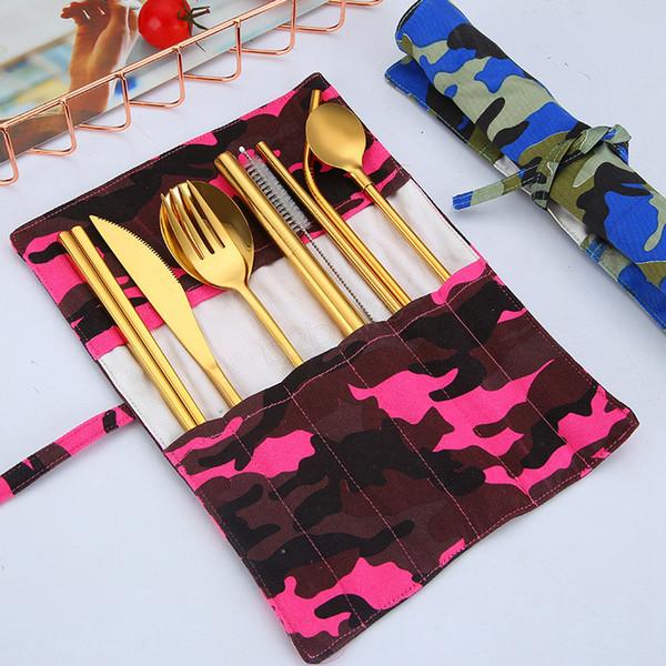 9pcs / set 304 coutellerie en acier inoxydable couteau fourchette cuillère baguettes cuillère paille camouflage pack portable vaisselle de plein air ensemble LJJA2943