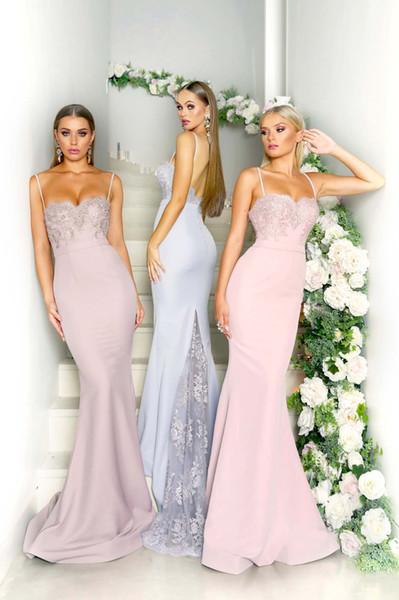 Elegante Spaghetti Strap Satin Meerjungfrau Brautjungfernkleider 2019 geraffte Tüll Spitze Applique formale Party Hochzeitsgast Brautjungfer Kleider