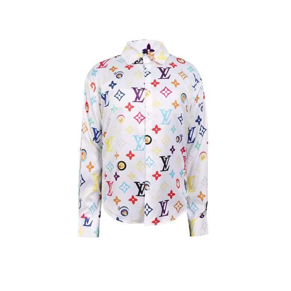 2019 Italian classic style Medusa Shirt 3G Floral Print Colors Luxury Casual Harajuku Shirt Long Sleeve Men's Head Medusa Shirt