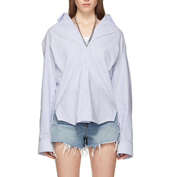 2019 Spring Streetwear Collana in metallo, personalità, camicia, camicia a maniche lunghe con colletto rovesciato ricamato a righe