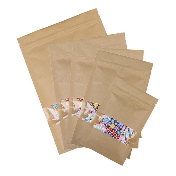 Livraison gratuite Kraft Paper Bag Window Zip Lock Vide paquet Thé Aliment séché Fruit cadeau Sacs auto-étanches Fermeture éclair plat 100pcs