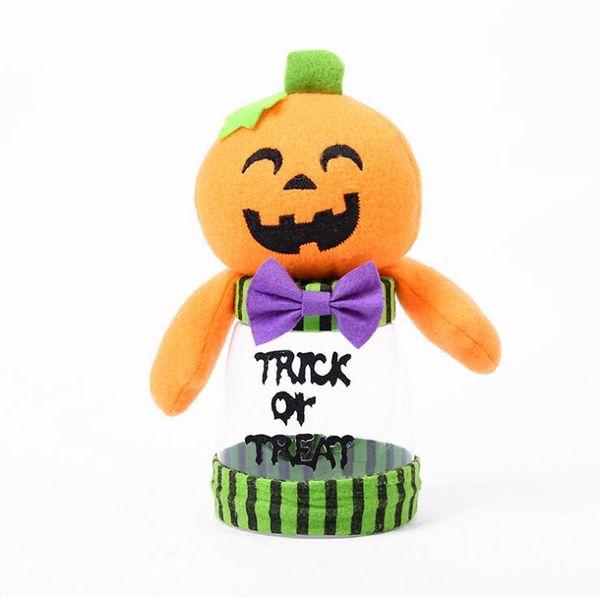 NUOVI 4 stili Cartoon Halloween Barattolo di caramelle Giocattoli 11 * 9 cm Zucca Gatto nero Simpatico barattolo di caramelle di plastica Decorazione per feste 911X30