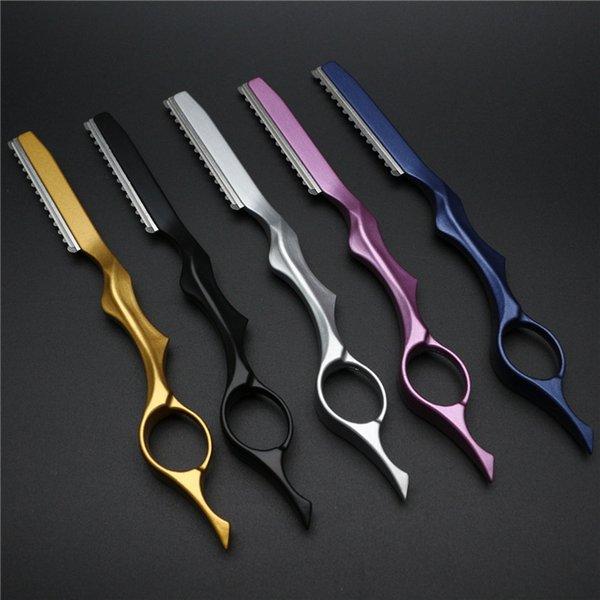Professional Hair Cutting Barber Sharpener Metal Haircut Knife Thin Hair Shaper Edge Blade Manual Beard Shaver Hairdressing Blades