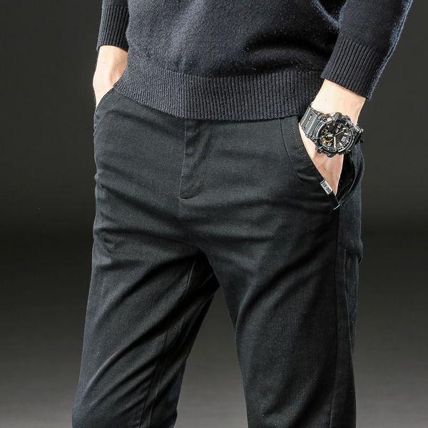 2020 Brand Pants Men Casual Elastic Long Trousers Male Cotton lattice straight gray Work Pant men's autumn Large size 28-38
