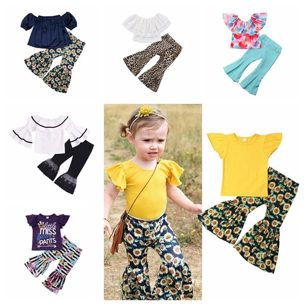 9ce790240a0b0 Girl Bell-bottom Trousers Leggings Sets Alphabetic Striped Flower Print  Tops Children Lace Top &