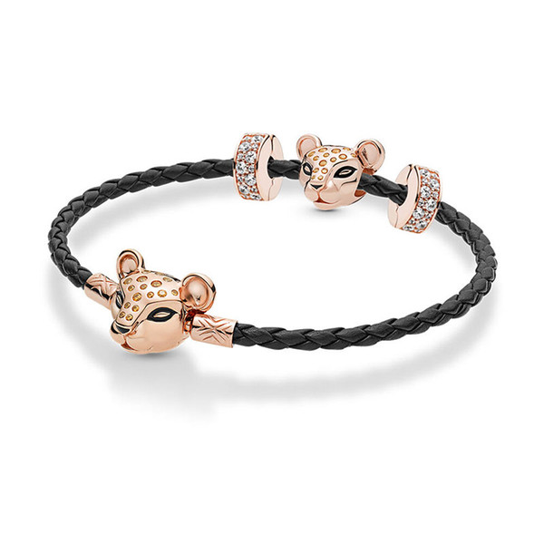 Summer New 925 Sterling Silver Lioness Bead Fit Original Pans Rose Leather Lioness Bracelet Set Bangle Women DIY Jewelry