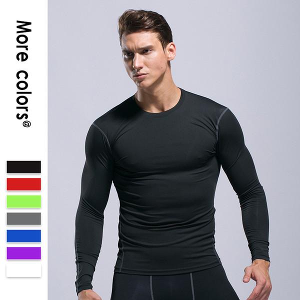 70ff1970ce14b Men Running Compression T-shirt Quick Dry Gym Fitness Sport Long Sleeve  Tshirt Elastic Slim